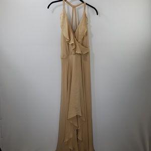 Haute Hippie Tan Silk Ruffled Maxi Dress Size S